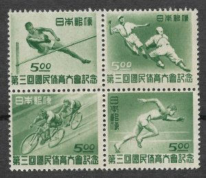 Doyle's_Stamps: 1948 Japanese 3rd National Athletics Meet Blk of 4, #421a**
