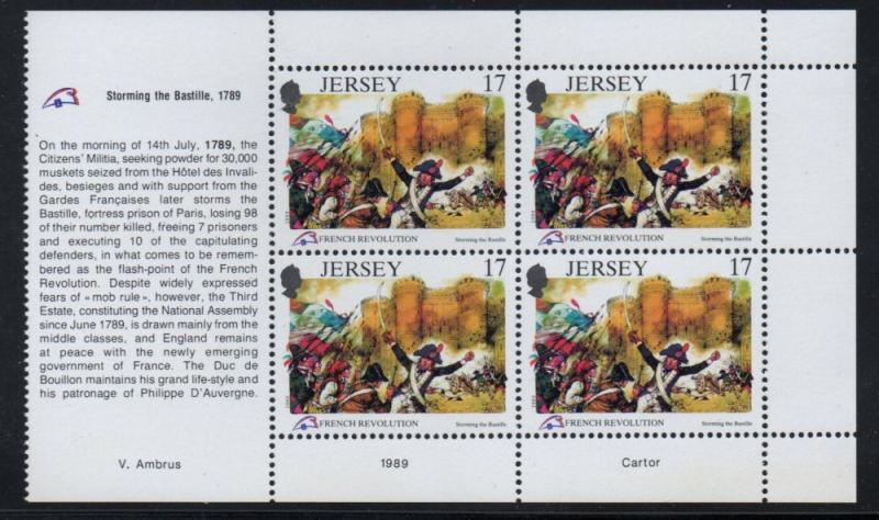 Jersey Sc 517a 1989 17p French Revolution stamp booklet pane mint NH