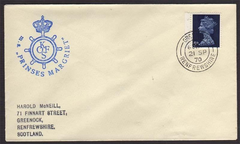 UK 1970 post at Sea cover to Scotland #561
