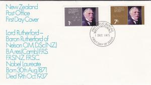 New Zealand 1971 Birth Centenary Lord Rutherfod FDC Wellington CDS Unadressed