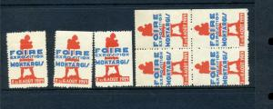 7 VINTAGE 1929 FIORE MONTARGIS EXPO POSTER STAMPS FRANCE  (L860)