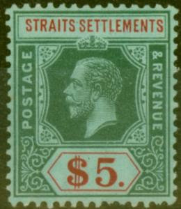 Straits Settlements 1918 $5 on Blue-Green Olive Back SG212b Fine Very Lightly Mt