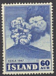 Iceland Sc# 250 Used (a) 1948 60a bright ultra Eruption of Hekla Volcano