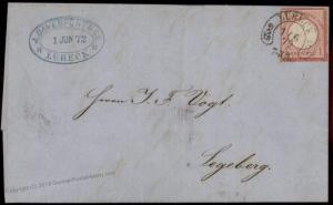 Germany 1874 Luebeck Hufeisen Horseshoe Cancel Cover 84964