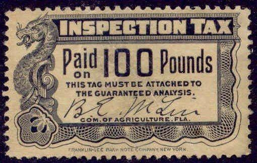Florida State Revenue Stamp 100 lbs Fertilizer Inspection Tax # FE4