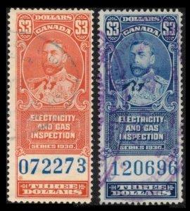 CANADA VINTAGE 1930 $3 KGV ELECTRICITY & GAS REVENUE STAMPS #FEG6 FEG10 CV $6.75