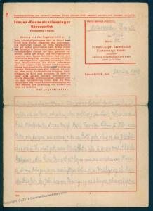 Germany 1943 Female  Concentration Camp KL Ravensbrueck Cover 91700