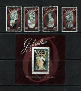 Gibraltar: 2013, 60th Anniversary of Coronation. MNH set + Miniature sheet.