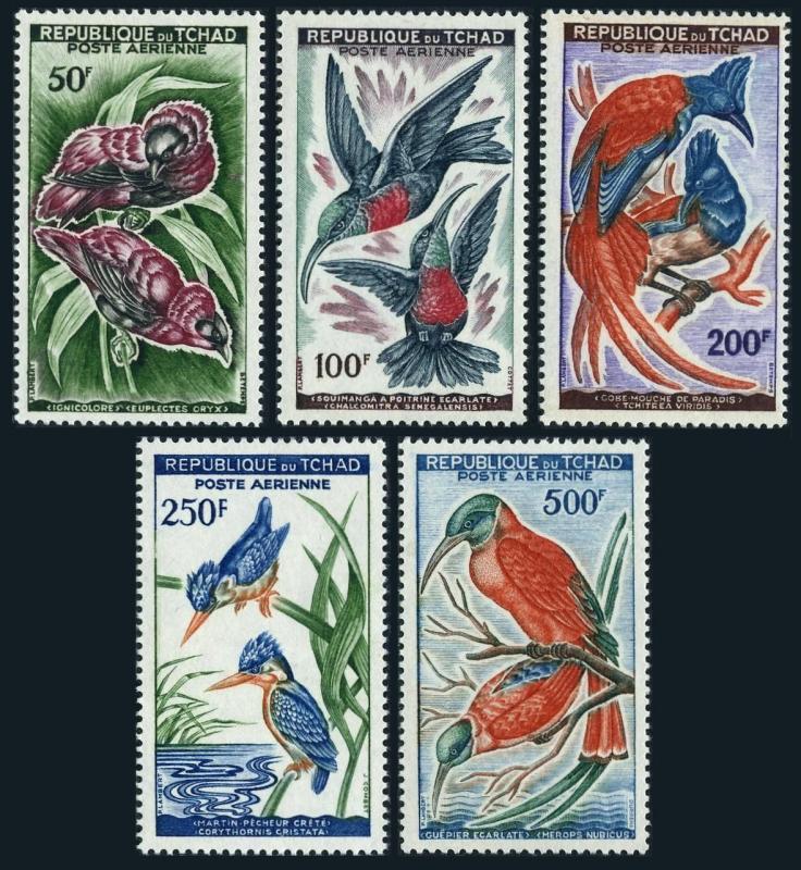 Chad C2-C6,lightly hinged. Birds 1961-1962.Sunbird,Flycatcher,Kingfisher,