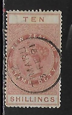 New Zealand AR12 10sh Postal Fiscal single Used
