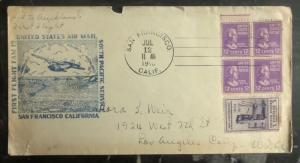 1940 San Francisco Ca first flight cover FFC To Los Angeles South Pacific Fam 19