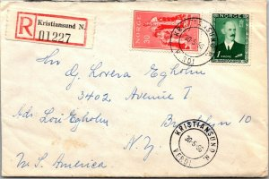 Kristiansund Norway > Brooklyn NY 1956 cover multiple stamps and cancels