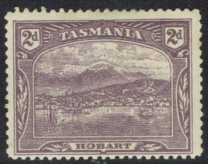 TASMANIA 1905 HOBART 2D WMK CROWN/A UPRIGHT TYPOGRAPHED PERF 12.5