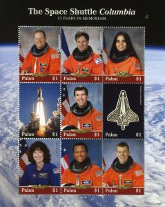 Palau Stamps 2018 MNH Space Shuttle Columbia 15 Yrs Memoriam 9v M/S