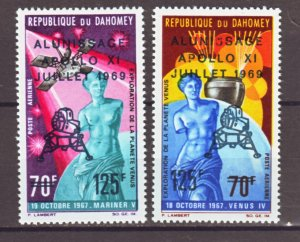 J22355 Jlstamps 1969 dahomey set mh #c103-4 space ovpt