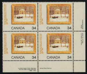 Canada 1076 BR Plate Block MNH Art, Winter Scene, Horse, Sleigh