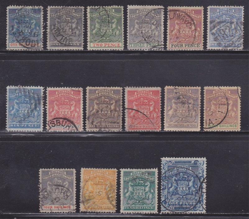 Rhodesia Scott #'s 1-16 VF used nice colors cv $ 636 ! see pic !