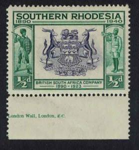 S. Rhodesia British South Africa Coats of Arms 1v ?p Bottom Margin SG#53