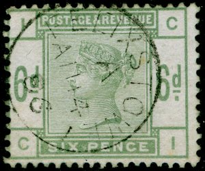 SG194, 6d dull green, FINE USED. Cat £240. FELIXSTOWE CDS. CI