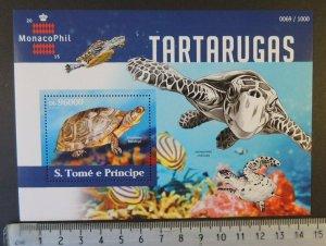 St Thomas 2015 turtles reptiles marine life fish monacophil stamp exhibition s/s