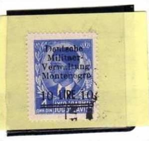 MONTENEGRO 1943 OCCUPAZIONE TEDESCA SOPRASTAMPATI 10L SU 4D TIMBRATO