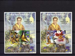 Sao Tome and Principe 2004 Scouts/Butterflies/Birds/Orchids/B.Franklin 9 SS MNH
