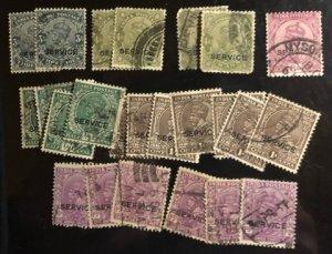 India Scott#O78(3),85(2),86(2),88,93(6),95(7),96(8) Avg to VF Used  Cat. $6.20
