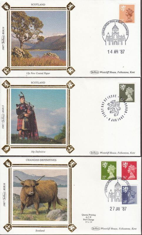 1987 CHANGED DEFINITES SCOTLAND BENHAM FDC'S BSR13,16 AND BSR19