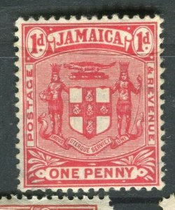 JAMAICA; 1905-11 early Arms issue Mint hinged 1d. value