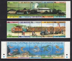 St. Kitts Se-tenet Strips of 5 MNH