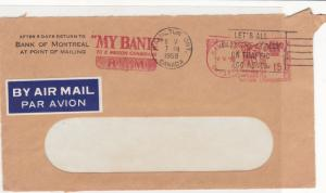 Canada 1958 Bank of Montreal Machine Cancel Airmail Stamps Cover FRONT R 17683