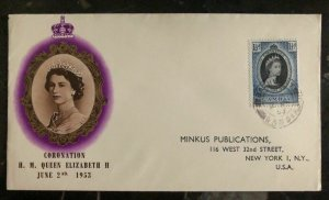 1953 Gambia First Day Cover Queen Elizabeth 2 coronation QE2 FDC To USA