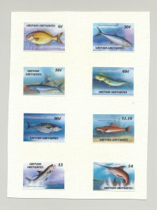 Grenada Grenadines #887-896 Capex 87, Fish 8v & 2v S/S Chromalin Proofs on Cards