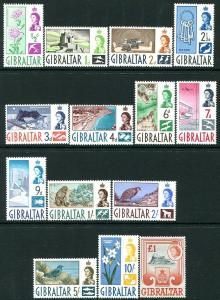 GIBRALTAR-1960-62 Set to £1 Sg 160-173 LIGHTLY MOUNTED MINT V30163