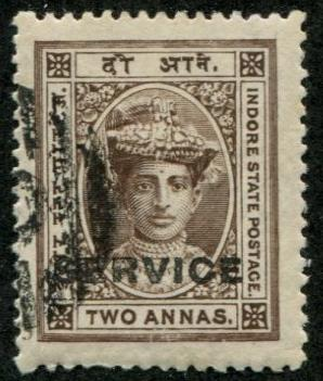 India - indore SC# O3 (SG# S4) Maharaja Rao III, 2a, Used