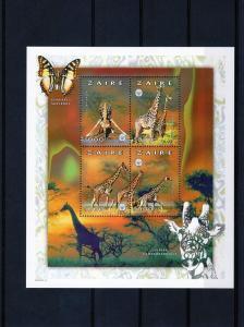 Zaire 1997 Giraffe-Butterflies-Scouts  Shlt(4)MNH Mi1314/7A