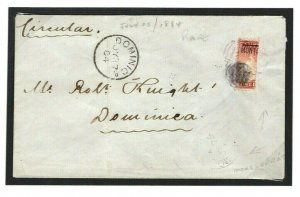 Antigua Overprint MONTSERRAT BISECT Cover 1884 Dominica SG.1a Cat £1,400 W645