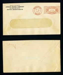 Meter cover from Jordan Marsh Company, Boston, Massachusetts dated 10-5-1931