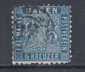 Baden Sc 16a used 1863 6kr blue Coat of Arms, perf 10, scarce