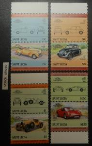 St. Lucia 739-42. 1985 Automobiles, se-tenant pairs, NH