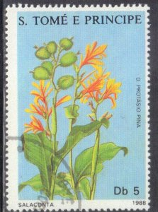 ST THOMAS & PRINCE ISLANDS SC# 819  *CTO*  1988  5c  FLOWER  SEE SCAN