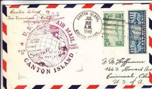 1940, 1st Flt.,F19-6, Canton Island to San Francisco, CA, See Remark (32740)