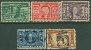 EDW1949SELL : USA 1904 Scott #323-27 Used. Very Fresh. Catalog $92.00.