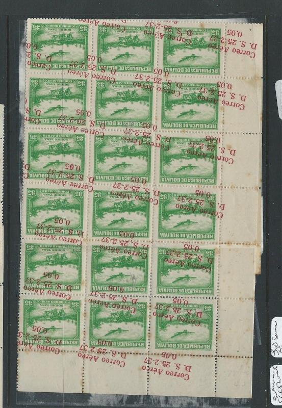 BOLIVIA (P2701B) SCC82 BL OF 36 SIDEWAYS OVPT SOME DOUBLE  MNN SOME TONE