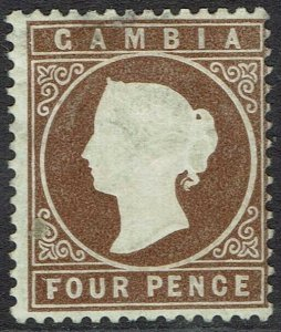 GAMBIA 1880 QV CAMEO 4D WMK CROWN CC UPRIGHT