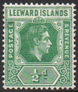 Leeward Islands 1938 ½d emerald MH