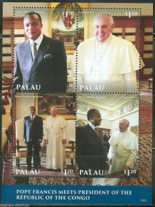 PALAU 2014 POPE FRANCIS MEETS THE PRESIDENT OF THE CONGO SHEET MINT NH