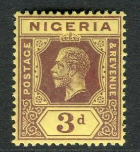 NIGERIA; 1912 early GV Crown CA issue fine Mint hinged Shade of 3d. value