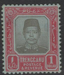 MALAYA TRENGGANU SG15 1910 $1 BLACK & CARMINE/BLUE MTD MINT