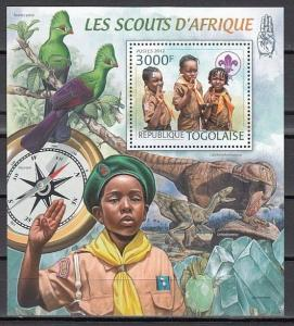 Togo, 2012 issue. African Scouts on a s/sheet.